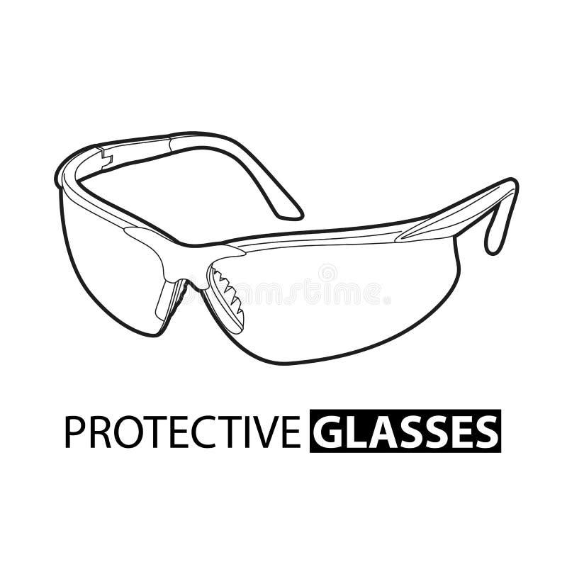 Occhiali di protezione per la riparazione su un fondo bianco illustrazione vettoriale