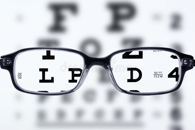 Occhiali e diagramma di occhio immagini stock