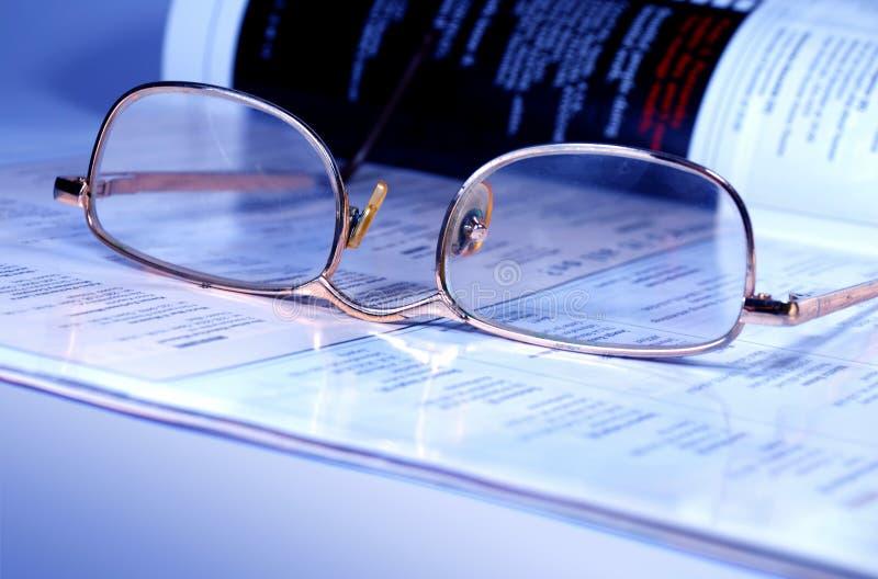 Occhiali e scomparto fotografia stock