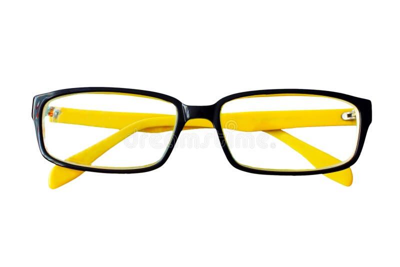 Occhiali gialli e neri isolati su bianco fotografia stock