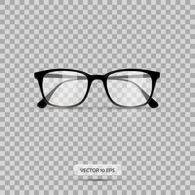 Occhiali Illustrazione di vettore Vetri del geek isolati su un fondo bianco Occhiali realistici dell'icona illustrazione di stock
