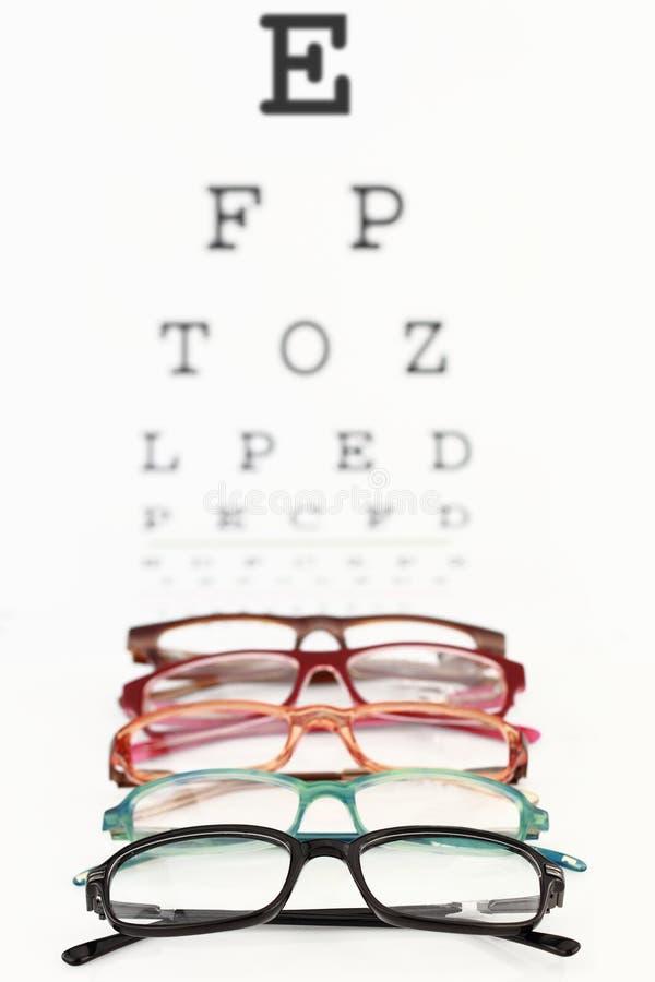 Occhiali su un diagramma di occhio fotografia stock libera da diritti