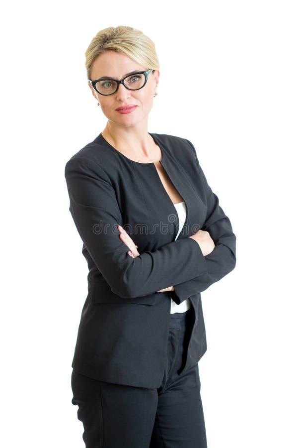 Occhiali weared donna di affari sicura isolati immagini stock