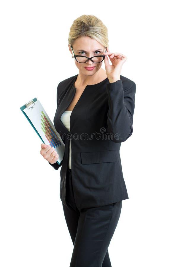 Occhiali weared sicuri della donna di affari fotografia stock