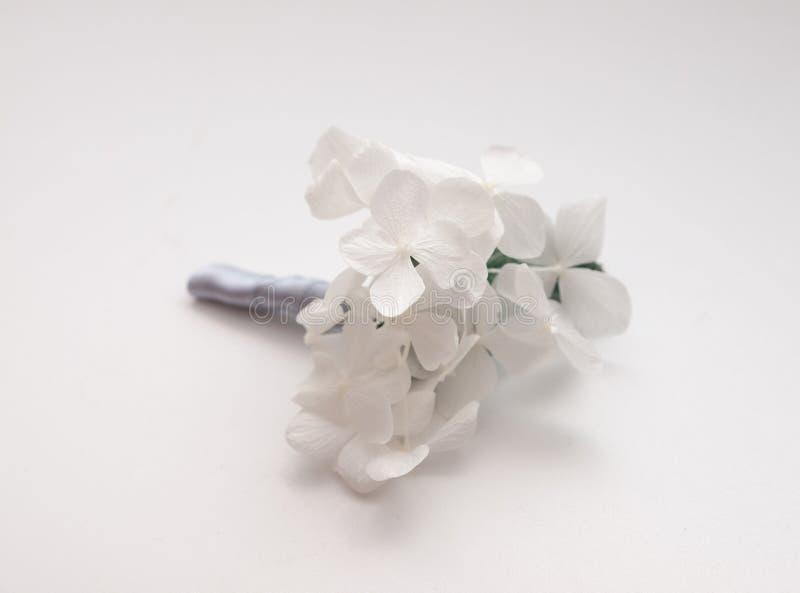 Occhiello bianco di nozze dell'ortensia di Minimalistic fotografie stock libere da diritti