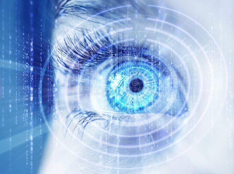 Occhio astratto con il cerchio digitale Scienza di visione e concetto futuristici dell'identificazione fotografie stock