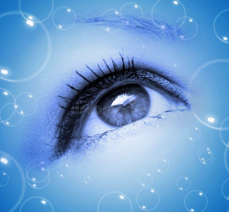 Occhio astratto con le bolle immagini stock