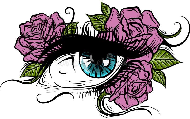 Occhio azzurro circondato dalle rose rosa royalty illustrazione gratis