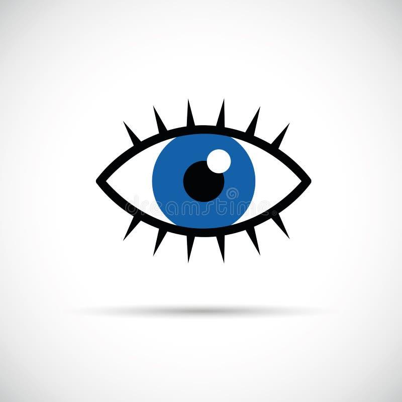 Occhio azzurro con l'icona dei cigli illustrazione di stock