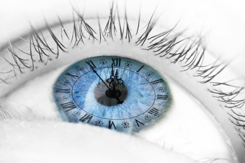 Occhio azzurro con l'orologio immagine stock libera da diritti