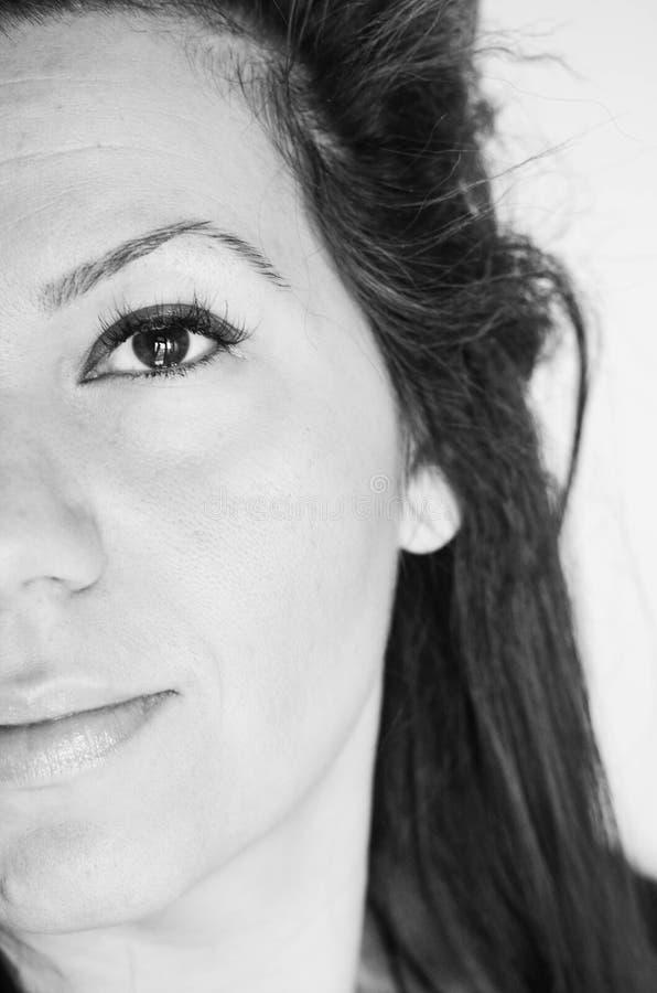 Occhio azzurro dell'occhio della donna bello giovane? immagine stock libera da diritti