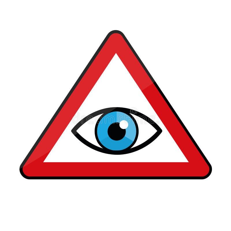 Occhio azzurro in un'icona del segnale di pericolo illustrazione vettoriale