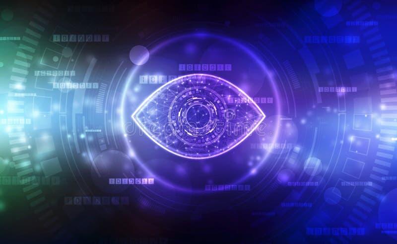 Occhio biometrico della selezione, occhio di Digital, concetto di sicurezza, concetto cyber di sicurezza royalty illustrazione gratis