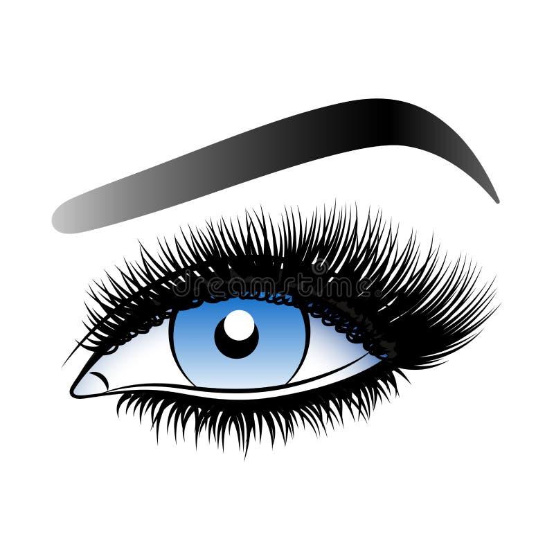 Occhio blu della donna con le sferze false lunghe fotografie stock