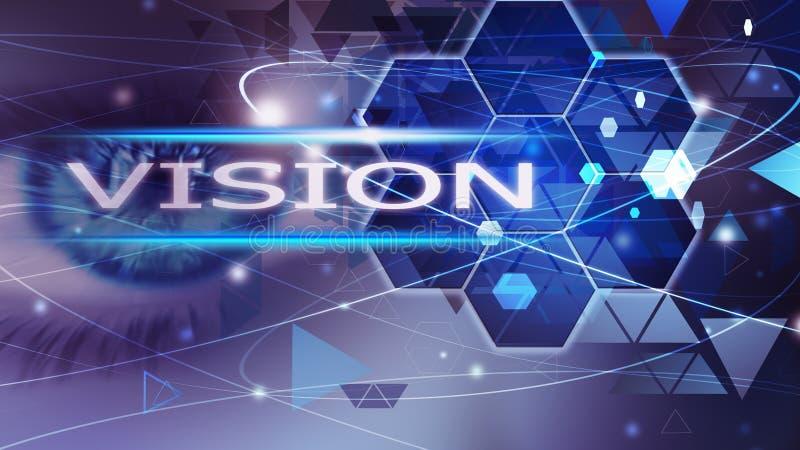 Occhio blu della soluzione di concetto dell'estratto futuro del fondo di visione royalty illustrazione gratis