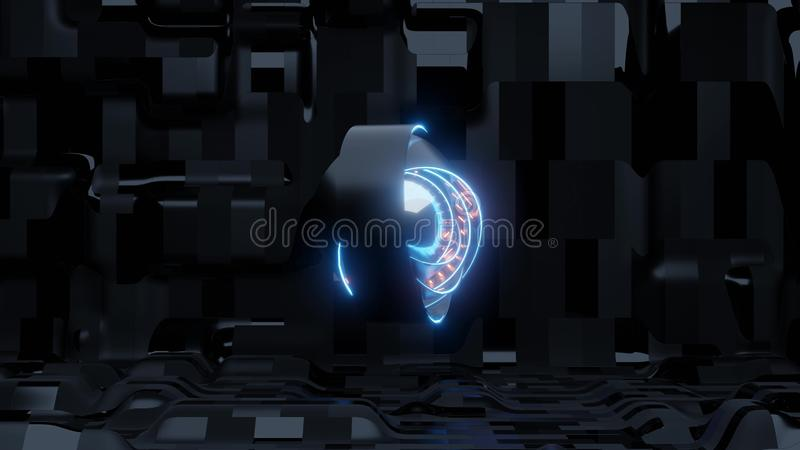 Occhio blu di scifi con il fondo straniero della nave e le luci arancio illustrazione vettoriale