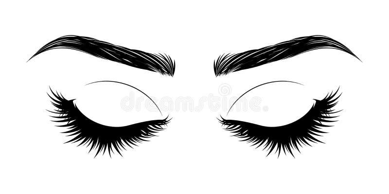 Occhio chiuso con i cigli e le fronti lunghi royalty illustrazione gratis