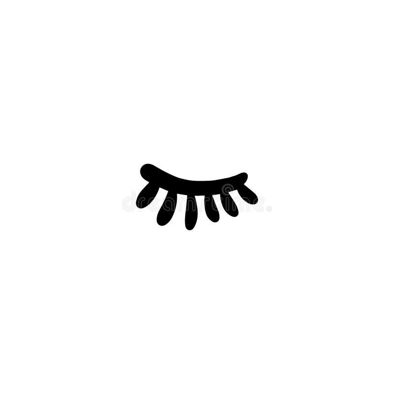 Occhio chiuso con il logotype disegnato a mano dell'illustrazione delle sferze nello stile del fumetto illustrazione di stock