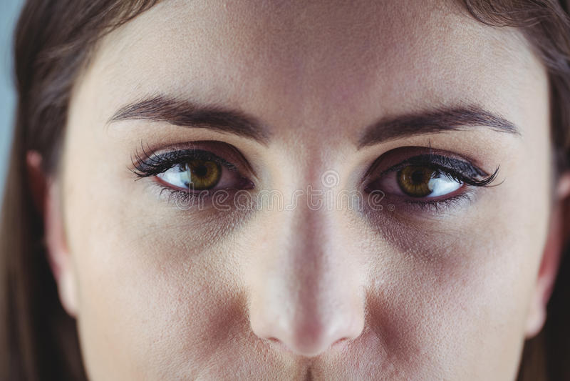 Occhio con l'eye-liner e l'ombretto fotografie stock libere da diritti