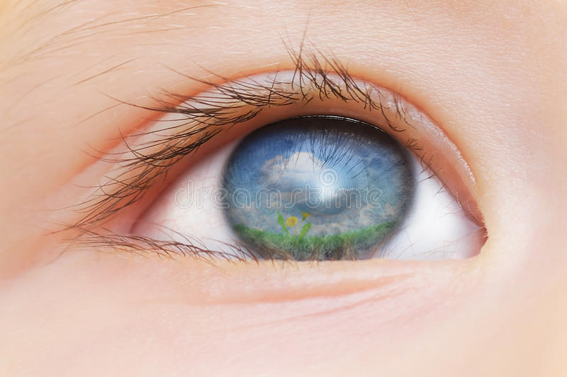 Occhio dei bambini fotografie stock