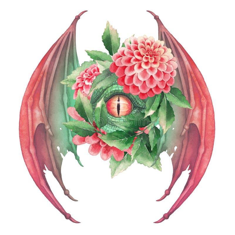 Occhio del drago di volo nei colori verdi con le parrucche aperte royalty illustrazione gratis