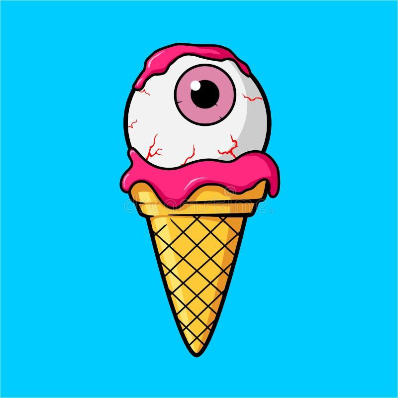 Occhio del gelato con il bulbo oculare e la crema rosa illustrazione vettoriale
