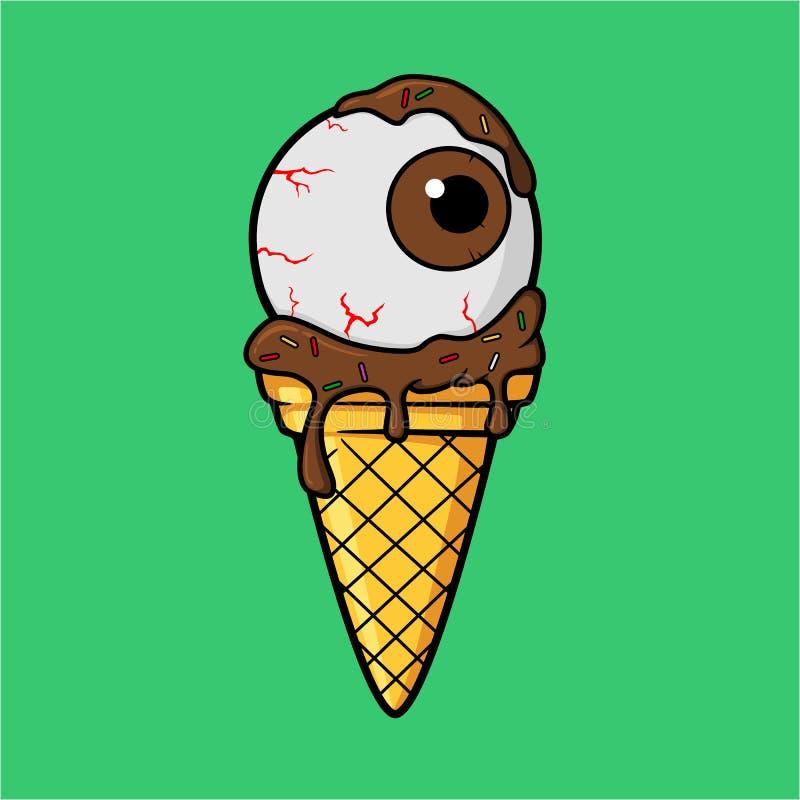 Occhio del gelato con la crema del latte al cioccolato illustrazione di stock