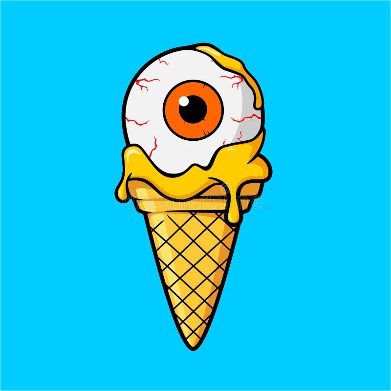 Occhio del gelato con la crema del succo d'arancia illustrazione di stock