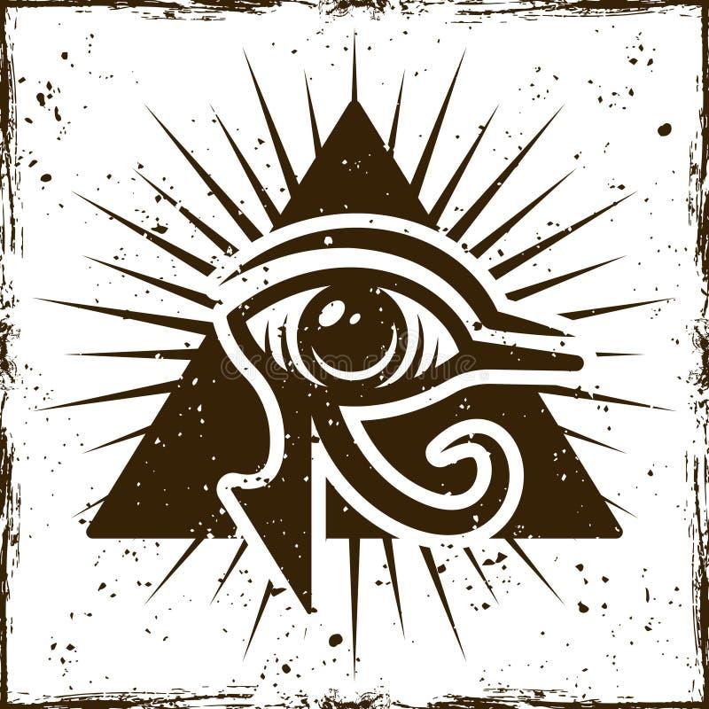 Occhio del horus nel triangolo, simbolo egiziano antico illustrazione vettoriale
