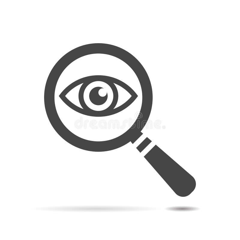 Occhio dell'icona con una lente d'ingrandimento illustrazione vettoriale