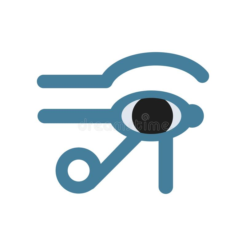 Occhio della divinità di Horus Egitto, occhio di Ra, segno mistico geroglifico egiziano antico, simbolo dell'egitto antico, tradi illustrazione vettoriale