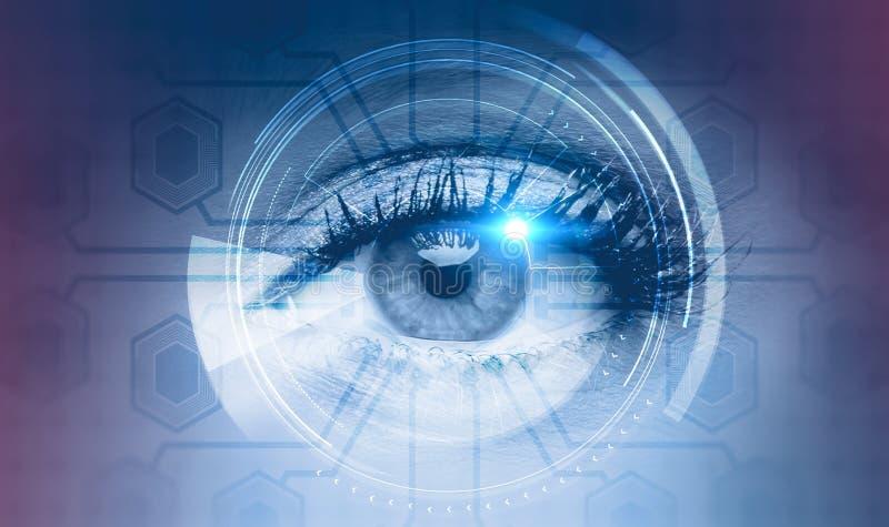 Occhio della donna nell'interfaccia del hud, circuiti illustrazione di stock
