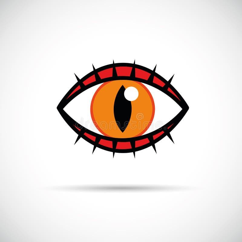 Occhio di gatto arancio con l'icona dei cigli illustrazione vettoriale