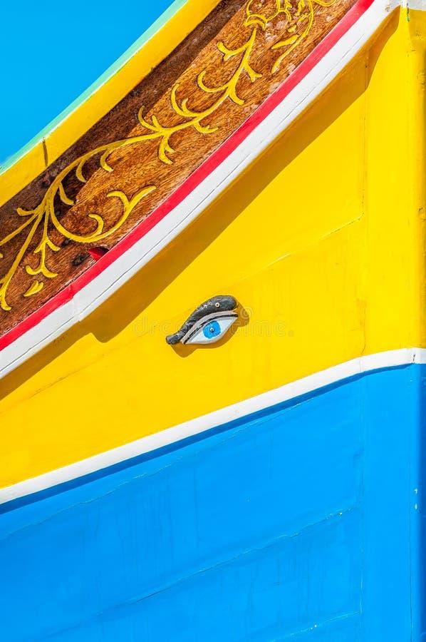 Occhio di Osiris o di Horus in Luzzu a Marsaxlokk, Malta fotografie stock