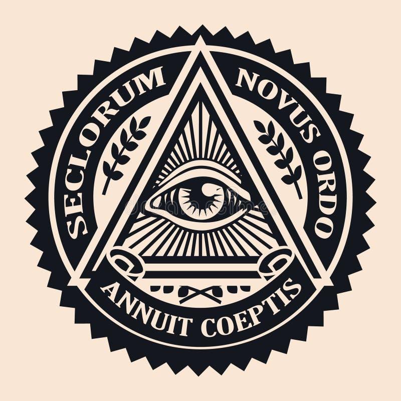 Occhio di Providence Simbolo massonico Teoria di cospirazione pergamena, immagini stock libere da diritti