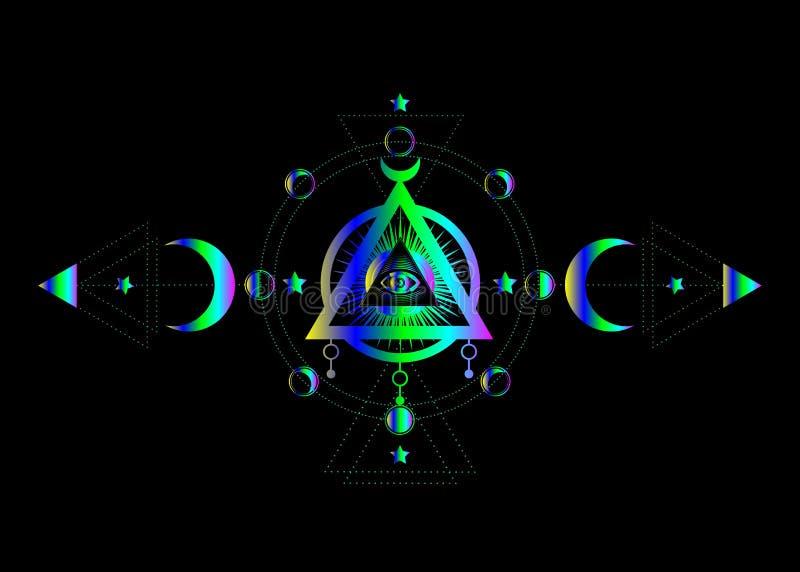 Occhio di Providence Simbolo massonico Tutto l'occhio vedente dentro il simbolo pagano della dea della luna di Wicca della luna t royalty illustrazione gratis