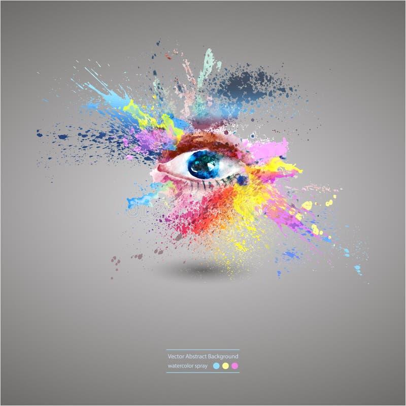 Occhio, fondo astratto luminoso illustrazione vettoriale