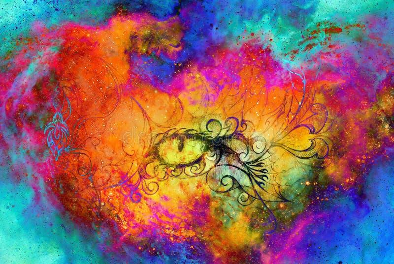 Occhio mistico e bello ornamentale nello spazio cosmico Tiraggio della mano e collage originali del computer royalty illustrazione gratis