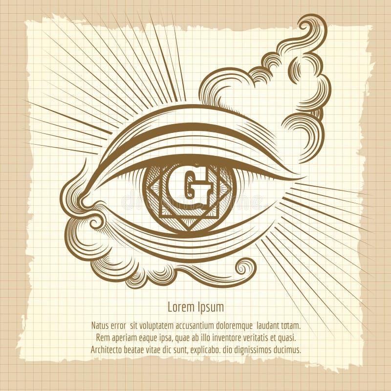 Occhio spirituale nello stile d'annata illustrazione di stock