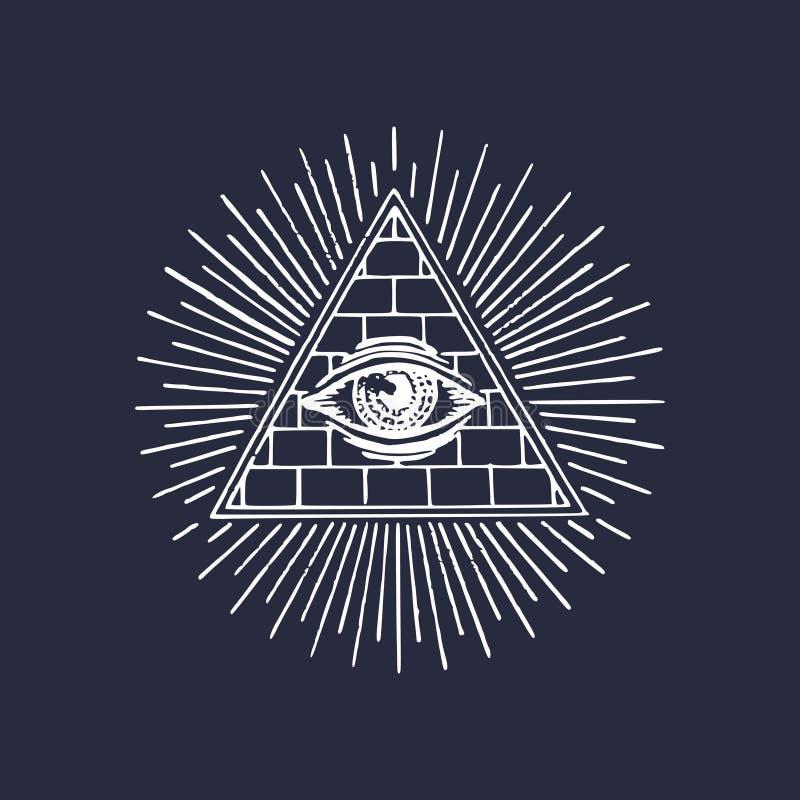 Occhio tutto vedente della piramide di massoneria Incisione del logo massonico Occhio di vettore dell'illustrazione di provvidenz illustrazione vettoriale