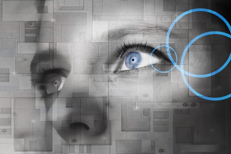 Occhio umano con l'interno di riflessione del bottone di potenza - conce di tecnologia illustrazione di stock
