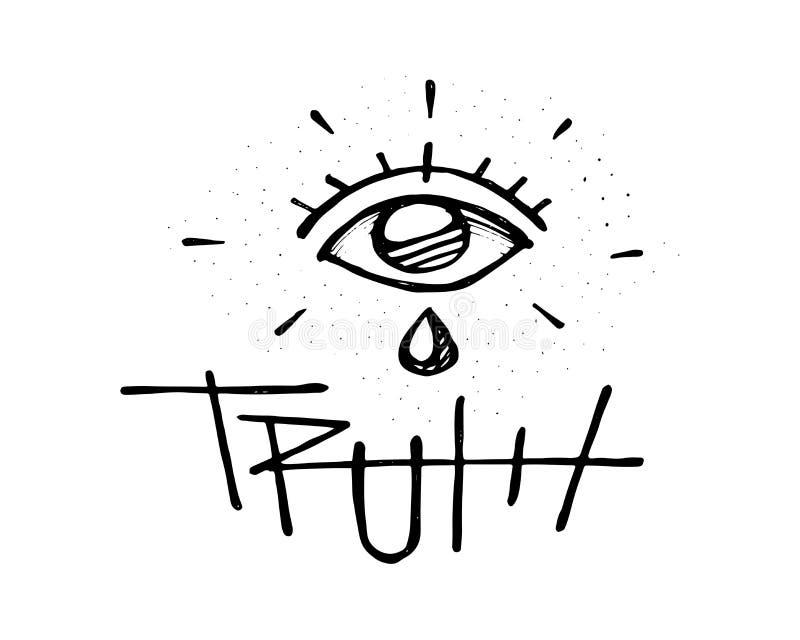 Occhio umano con lo strappo e la verità di parola illustrazione vettoriale