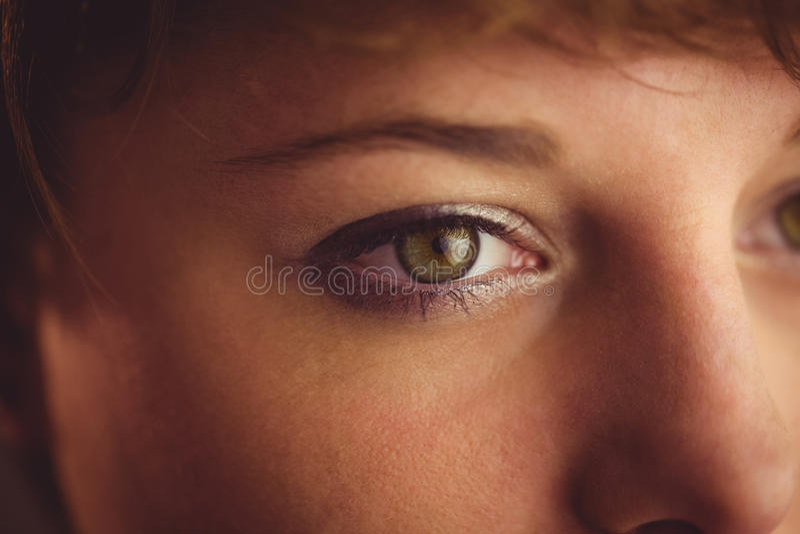 Occhio verde con l'eye-liner e l'ombretto immagini stock libere da diritti
