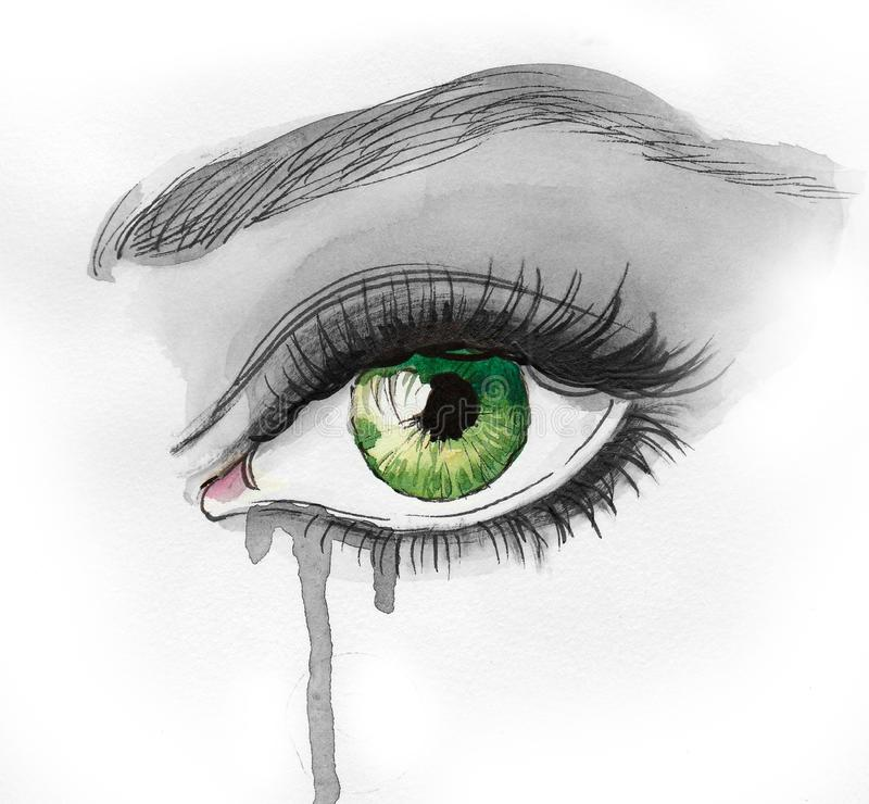 Occhio verde dell'acquerello illustrazione di stock