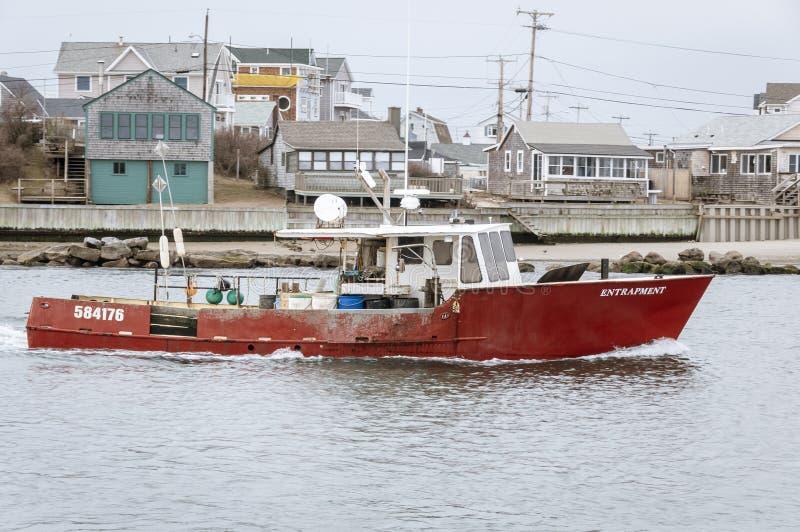 Occlusion de bateau de homard en cours image libre de droits