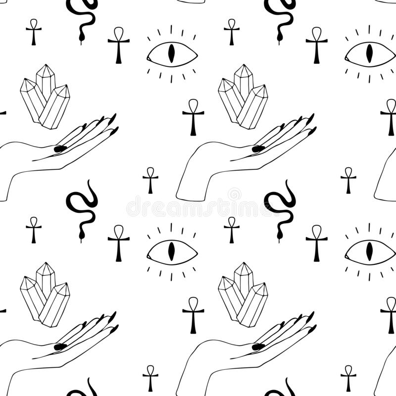 Occultism print with gothic hands and magic signs - devil eye, crystal, cross, snake. Seamless pattern. royalty free illustration