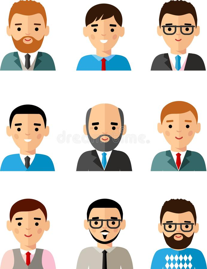 Occupation avatars of international different manager man and woman royalty free illustration