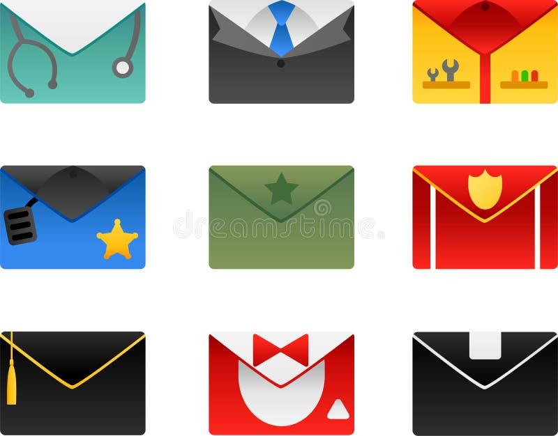 Download Occupation envelopes set stock vector. Illustration of symbol - 24171309