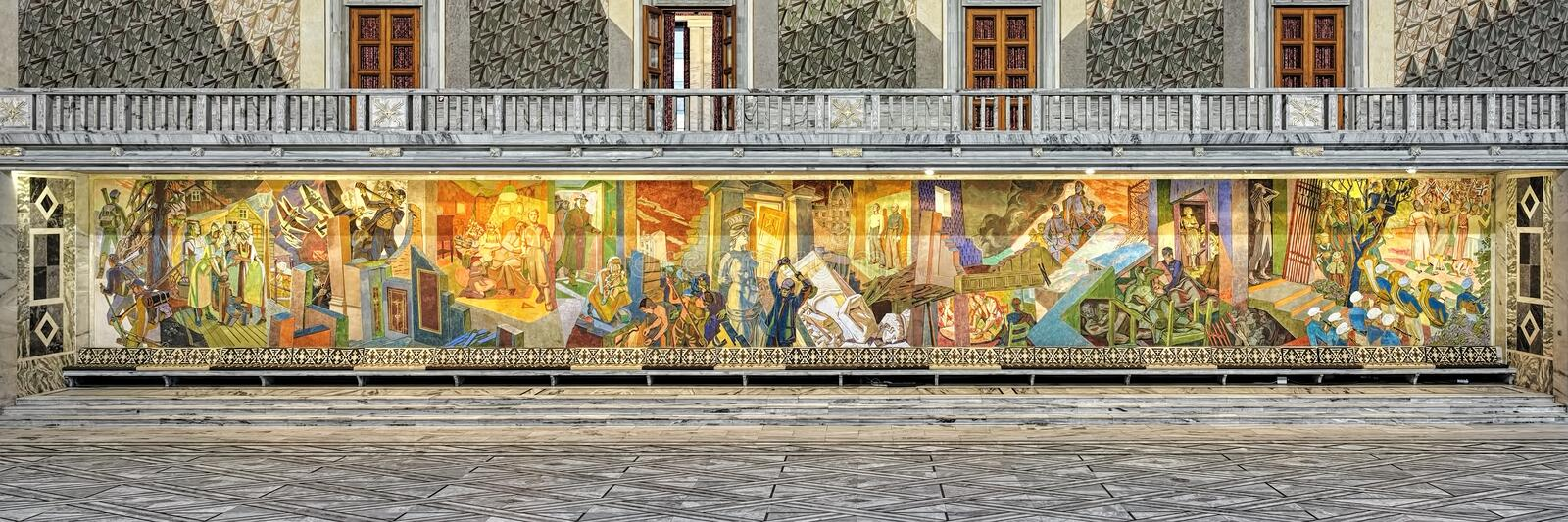The Occupation Frieze on the east wall of Main Hall in Oslo City Hall, Norway royalty free stock photography