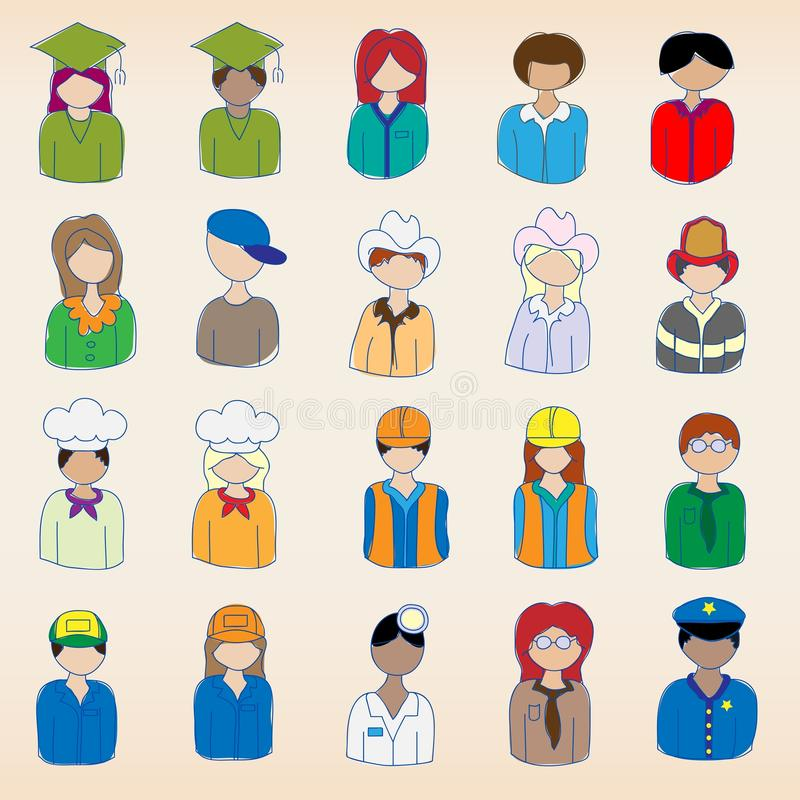 Download Occupation Icons Set stock vector. Image of construction - 22742374